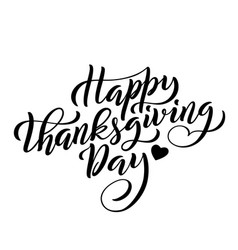 hand drawn happy thanksgiving day lettering vector image