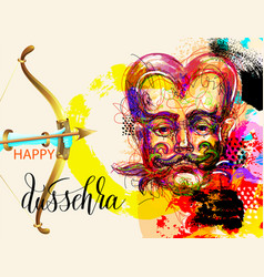 Happy dussehra poster design with a portrait of a vector