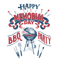 Happy memorial day barbecue party sign vector