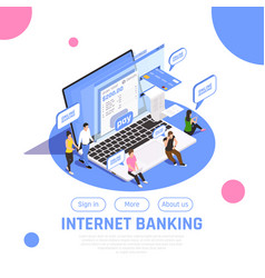 Internet banking isometric design vector