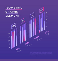 isometric elements of graphic presentation vector image