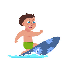 kids surfing boy riding board on waves extreme vector image