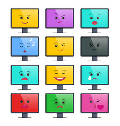 Lcd display with funny emoticons isolated set vector