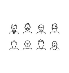 male face various types signs thin line icon set vector image