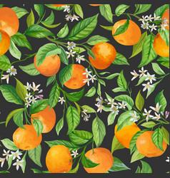 Mandarin floral background seamless fruit vector