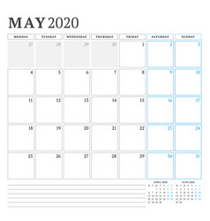 May 2020 calendar planner stationery design vector