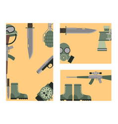 Military weapon guns symbols armor cards forces vector