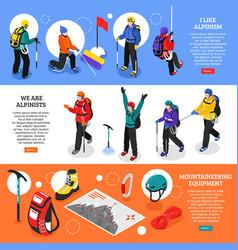 Mountaineering horizontal banners vector