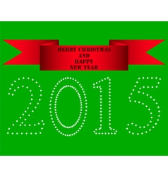 New in 2015 and red satin red ribbon vector
