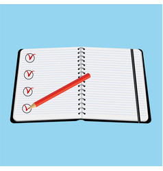 notebook red pencil with tick vector image