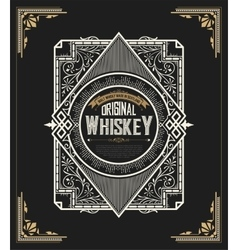 Old Whiskey label and vintage frame vector