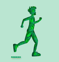 paper art of running man silhouette curve shape vector image