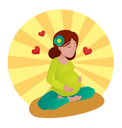 Pregnant girl meditation vector