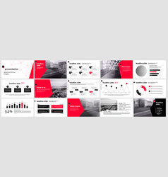 presentation template slides with charts vector image