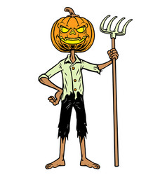 pumpkin halloween standing hold fork vector image