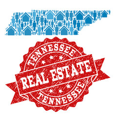 Real estate collage of mosaic map of tennessee vector