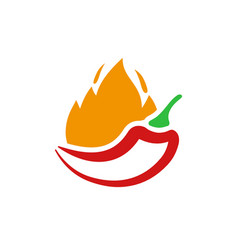 red hot chili icon peppers on fire symbol vector image