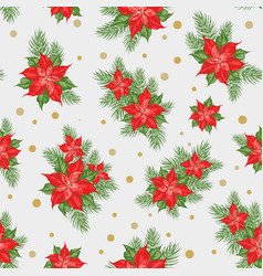 red poinsettia flower pattern seamless christmas vector image