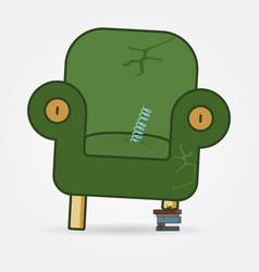 Retro styled broken armchair thin line icon vector