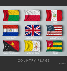 Riveted country flag wrinkled with shadows vector