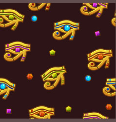 Seamless pattern egypt eye of horus with colored vector