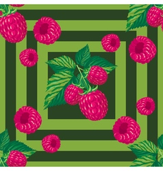 Seamless pattern with branches of raspberry vector