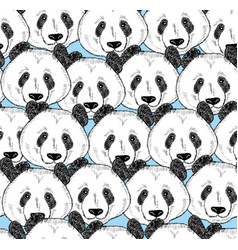 Seamless pattern with panda faces vector