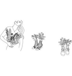 set abstract minimalistic female portrait vector image