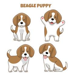 Set beagle dog puppy in cartoon style vector