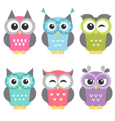 set funny owls isolated on white vector image
