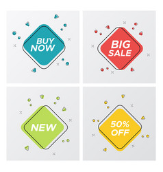 set of 4 bright square sale tag with promo titles vector image