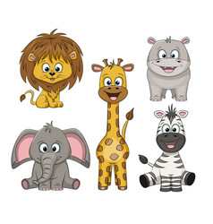 Set of different cute wild animals vector