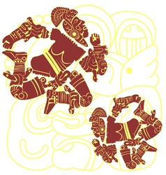 Set of mayan warriors vector image