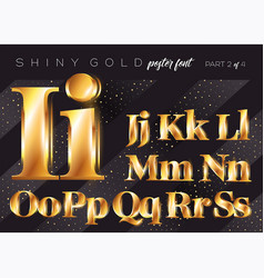 shiny gold alphabet realistic metallic typeface vector image vector image