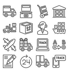 shipping logistic and delivery icons set line vector image