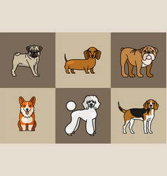Six dogs pets mascots breed characters vector