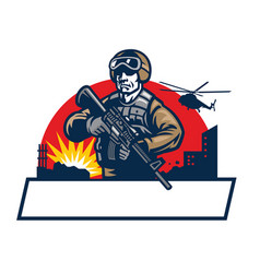 soldier mascot hold assault rifle vector image