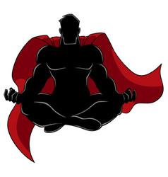 Superhero meditating silhouette vector