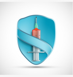 Syringe with injection on background shield vector