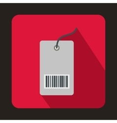 Tag with bar code icon flat style vector image