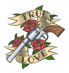 tattoo with revolver and roses vector image