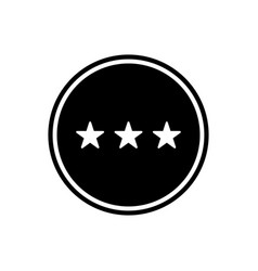 three stars round glyph icon rating icon isolated vector image