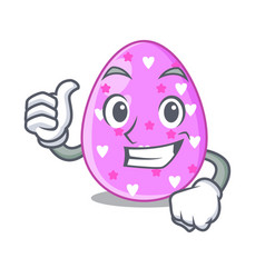 thumbs up cartoon shape easter color on eggs vector image