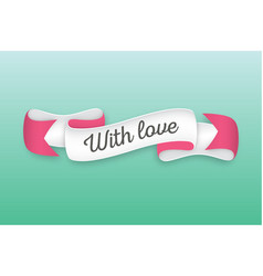 Trendy retro ribbon with text with love colorful vector