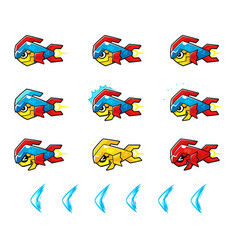 Trooper fish robot enemy game sprites vector