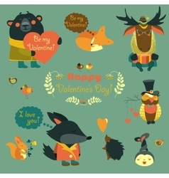 Valentine set of fun animals with hearts and vector image vector image