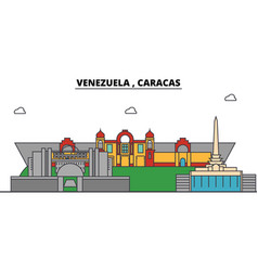Venezuela caracas outline city skyline linear vector
