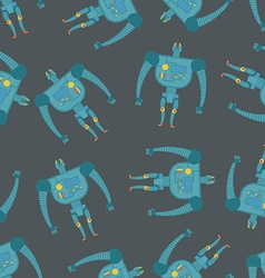 Vintage toy Robots seamless pattern Background of vector image