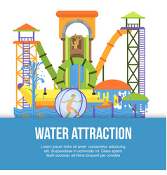 water attraction or aquapark for kids with vector image