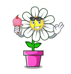 with ice cream daisy flower character cartoon vector image